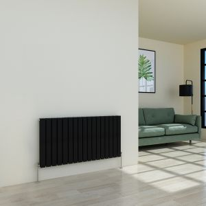 Karlstad 600 x 1158mm Black Double Flat Panel Horizontal Radiator
