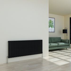 Karlstad 600 x 1430mm Black Single Flat Panel Horizontal Radiator