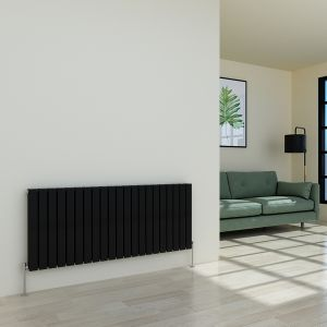 Karlstad 600 x 1430mm Black Double Flat Panel Horizontal Radiator