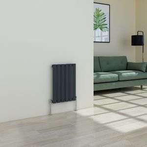 Karlstad 600 x 410mm Sand Grey Single Flat Panel Horizontal Radiator