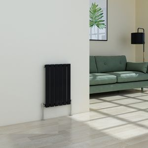 Karlstad 600 x 410mm Black Single Flat Panel Horizontal Radiator