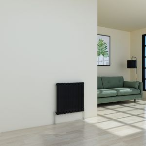 Horizontal Designer Radiator Flat Panel Modern Heating Single Black Radiator 600 x 614mm