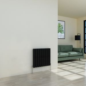 Karlstad 600 x 614mm Black Double Flat Panel Horizontal Radiator
