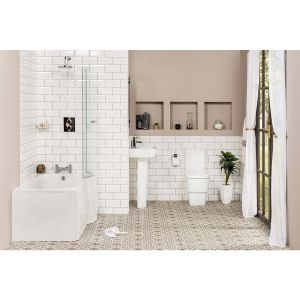 Aria Bathroom Suite with Right Hand P Shape Shower Bath