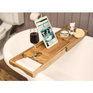 Bamboo Bath Caddy with Book Stand & Wine Glass Holder