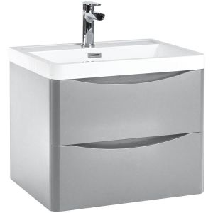 Imperio Bellissima - 600mm Wall Mounted Vanity Unit With Basin - Pebble Grey