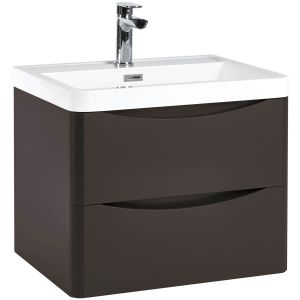 Imperio Bellissima - 600mm Wall Mounted Vanity Unit With Basin - Wolf Grey