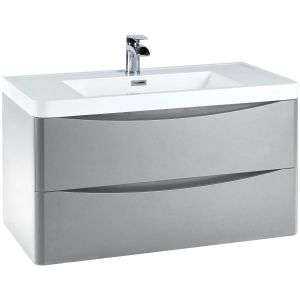 Imperio Bellissima - 900mm Wall Mounted Vanity Unit With Basin - Pebble Grey