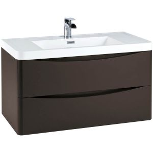 Imperio Bellissima - 900mm Wall Mounted Vanity Unit With Basin - Wolf Grey
