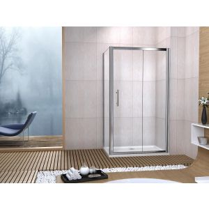 Aqua-I6 Single Sliding Shower Door 1000mm x 1850mm - Silver