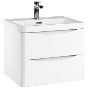 Imperio Bellissima - 600mm Wall Mounted Vanity Unit With Basin - High Gloss White