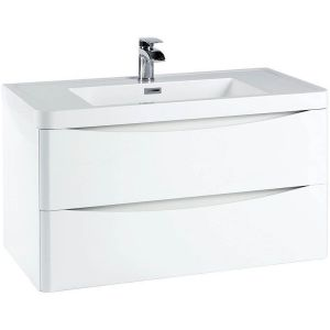 Imperio Bellissima - 900mm Wall Mounted Vanity Unit With Basin - High Gloss White
