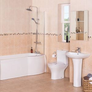 Fresh Curved Bathroom Suite with Right Hand P Shape Shower Bath