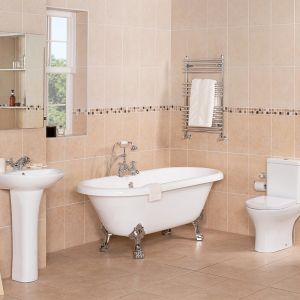 Fresh Curved Bathroom Suite with Freestanding Bath