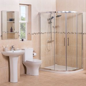 Curved 1200mm Offset Quadrant RH Shower Enclosure Suite with Easy Clean Glass