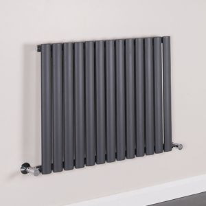 Norden 600 x 780mm Sand Grey Single Oval Tube Horizontal Radiator