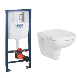 Ancona Wall Hung Toilet Pan with Soft Close Seat and GROHE Rapid SL Wall Hung Toilet Frame with Cistern