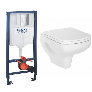 Aquila Wall Hung Toilet Pan with Soft Close Seat and GROHE Rapid SL Wall Hung Toilet Frame with Cistern