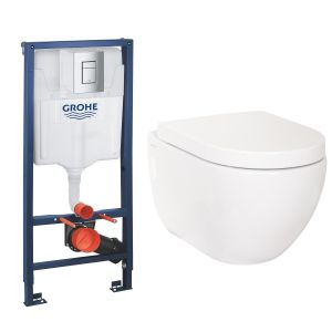 Cordoba Wall Hung Toilet Pan with Soft Close Seat and GROHE Rapid SL Wall Hung Toilet Frame with Cistern
