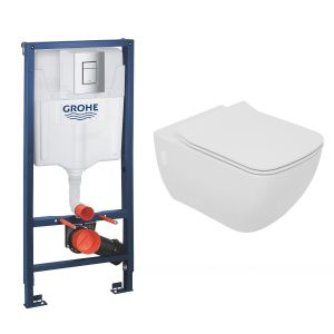 Edge Rimless Wall Hung Toilet Pan with Soft Close Seat and GROHE Rapid SL Wall Hung Toilet Frame with Cistern
