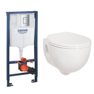 Energise Wall Hung Toilet Pan with Soft Close Seat and GROHE Rapid SL Wall Hung Toilet Frame with Cistern