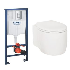Yin Wall Hung Toilet Pan with Soft Close Seat and GROHE Rapid SL Wall Hung Toilet Frame with Cistern