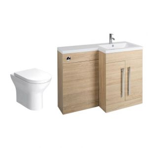 Calm Oak Right Hand Combination Vanity Unit with Fresh Curved II Toilet