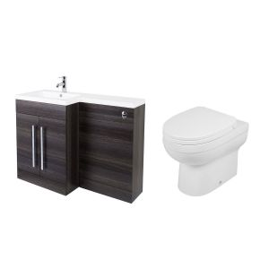 Calm Grey Left Hand Combination Vanity Unit Basin L Shape with Back to Wall Lima Toilet & Soft Close Seat & Concealed Cistern