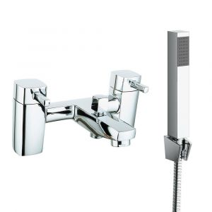 Iguazu Modern Bath Shower Mixer Tap with Hand Shower - Chrome