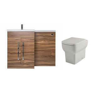 Calm Walnut Left Hand Combination Vanity Unit Basin L Shape with Back to Wall Kartell Korsika Toilet & Soft Close Seat & Concealed Cistern