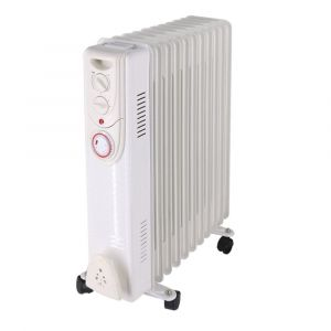 Dovre Electric Portable Oil Filled Radiator 11 Fin Gloss White - 2500W