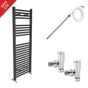 Bergen 1200 x 450mm Electric Manual Straight Grey Towel Radiator - Includes Angled Valves