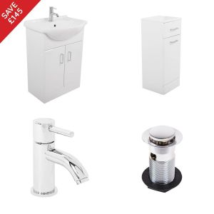 Absolute White 550mm Vanity Unit Basin and Bathroom Storage With Tap And Waste Included