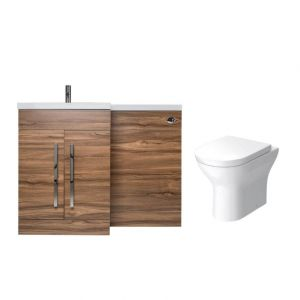 Calm Walnut Left Hand Combination Vanity Unit with Fresh Curved II Toilet