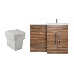 Calm Walnut Right Hand Combination Vanity Unit Basin L Shape with Back to Wall Kartell Korsika Toilet & Soft Close Seat & Concealed Cistern