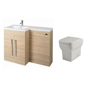 Calm Oak Left Hand Combination Vanity Unit Basin L Shape with Back to Wall Kartell Korsika Toilet & Soft Close Seat & Concealed Cistern
