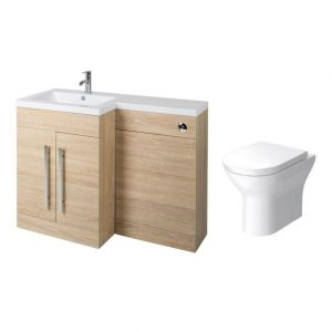 Calm Oak Left Hand Combination Vanity Unit with Fresh Curved II Toilet