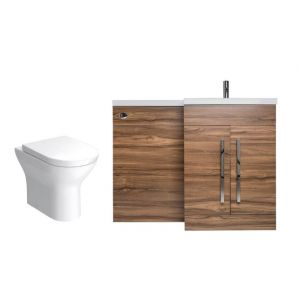 Calm Walnut Right Hand Combination Vanity Unit with Fresh Curved II Toilet