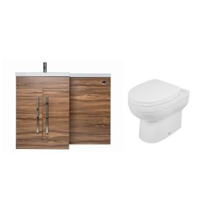 Calm Walnut Left Hand Combination Vanity Unit Basin L Shape with Back to Wall Lima Toilet & Soft Close Seat & Concealed Cistern
