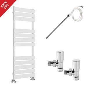 Juva 1200 x 500mm Electric Manual White Flat Panel Heated Towel Rail - Includes Angled Valves