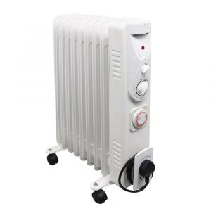 Dovre Electric Portable Oil Filled Radiator 9 Fin Gloss White - 2000W
