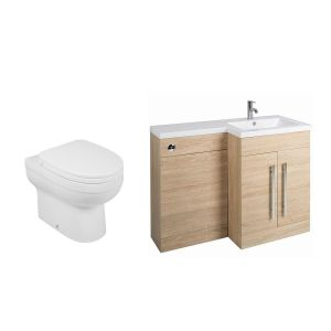 Calm Oak Right Hand Combination Vanity Unit Basin L Shape with Back to Wall Lima Toilet & Soft Close Seat & Concealed Cistern