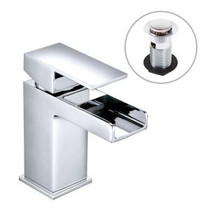 Edessa Modern Waterfall Cloakroom Mono Basin Mixer Tap - Chrome - with Waste