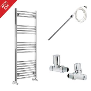 Fjord 1200 x 500mm Electric Manual Curved Chrome Heated Towel Rail - Includes Straight Valves