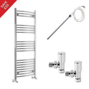Fjord 1200 x 500mm Electric Manual Curved Chrome Heated Towel Rail - Includes Angled Valves