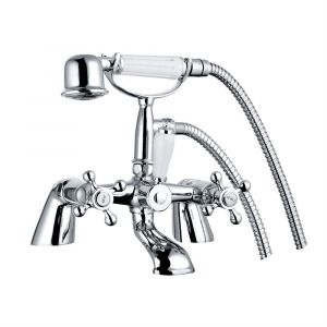 Abbey Traditional Crosshead Bath Shower Mixer Tap - Chrome and White