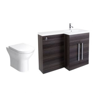 Calm Grey Right Hand Combination Vanity Unit with Fresh Curved II Toilet