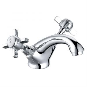 Lincoln Traditional Crosshead Basin Mixer Tap - Chrome and White
