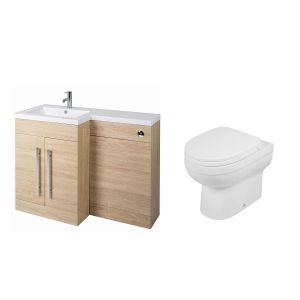 Calm Oak Left Hand Combination Vanity Unit Basin L Shape with Back to Wall Lima Toilet & Soft Close Seat & Concealed Cistern