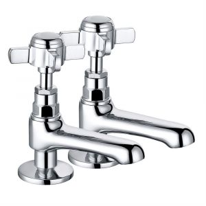 Lincoln Traditional Crosshead Basin Pillar Taps - Chrome and White